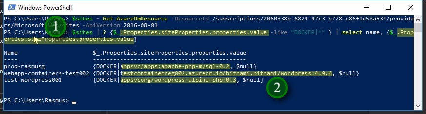 Receive the Docker images in PowerShell;The following two steps will receive and display the docker images for our web apps: 1. pipe $sites into a where-object cmdlet (here using alias '?') appling the object path we found in Show-Object earlier. The we select the 'name' of the web app and the 'value' 2. The output then shows all docker images together with names of the web apps in which they run. Note: the 2nd docker image ('testcontainerreg002.azurecr.io/bitnami.bitnami/wordpress:4.9.6') is actual a docker images coming from a Azure Container registry that I use for testing purposes. The other two comes directly from Docker Hub (hub.docker.com)